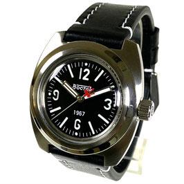 """Legendäre """"AMPHIBIA 1967"""" Automatikuhr von Vostok-Watches24, Sandwich Zifferblatt, großer Glasboden, veredeltes Werk, Edelstahl, gebürstet, ø41,5mm"""