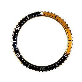 Orange-schwarze Lünette mit Minuterie für VOSTOK AMPHIBIA KOMANDIRSKIE Uhren, Edelstahl, Aluminium Insert, Leuchtmassemarkierung, ø39mm, LÜ-INS-25