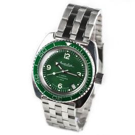Russian automatic diver watch AMPHIBIA with green bezel by VOSTOK, 200m water proof, stainless steel, polished, ø41mm