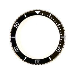 Lünette mit schwarzes Keramik - Insert und Leuchtmasse für VOSTOK AMPHIBIA KOMANDIRSKIE Uhren von VOSTOK, Edelstahl, weiße SuperLumiNova Leuchtmasse, ø40,0mm, LÜ-INS-21