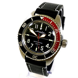 """Automatik pilots watch """"AMPHIBIA K-02"""" with luminous dial and hands, glas back, AVIATOR scalfskin strap by VOSTOK, stainless steel, brushed, ø42mm"""