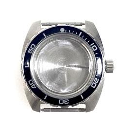 """Gehäuse 170 mit """"B""""-Krone, Metallwerkhaltering und Lünette für VOSTOK AMPHIBIA Uhren von VOSTOK, Edelstahl, gebürstet, komplett"""