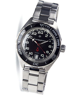 Russian automatic 24hr watch VOSTOK KOMANDIRSKIE K-65 with glass case back by VOSTOK, stainless steel, brushed, ø42mm