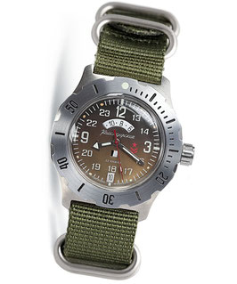 "Russian automatic watch ""KOMANDIRSKIE K-35"" with additional 24hr time indication and day & night indicator by VOSTOK, stainless steel, brushed, ø42mm"