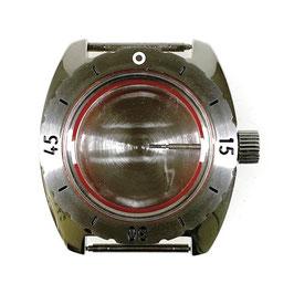 Gehäuse 150 mit  gebürsteter Lünette für VOSTOK AMPHIBIA Uhren von VOSTOK, Edelstahl, poliert, komplett