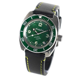 Russian automatic diver watch AMPHIBIA with green bezel and green stitched calfskin strap by VOSTOK, 200m water proof, stainless steel, polished, ø41mm