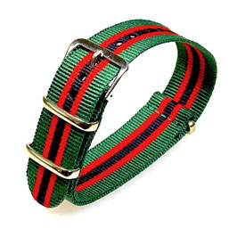 18mm NATO strap for VOSTOK watches, green, red and black