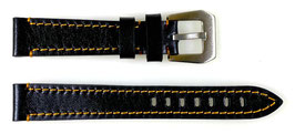 22mm, orange stitched AVIATOR leather strap for VOSTOK watches, calfskin, ARM-LD22-07