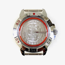 Case 431 for VOSTOK KOMANDIRSKIE hand winding watches, chrome plated, polished, complete