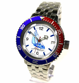 "AMPHIBIA automatic watch ""SAILING"" with PEPSI bezel and glass case back by VOSTOK-Watches24, stainless steel, brushed, ø40mm"