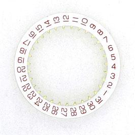 """Datumsring weiß mit roten Zahlen für alle Vostok Werke, für Uhren mit Datum in Pos.""""3:00"""" und """"4:30"""""""