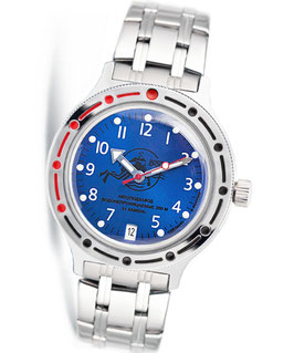"VOSTOK ""AMPHIBIA"" K-42 automatic diver watch ""DIVER"" by VOSTOK, 200m water proof, stainless steel, polished, ø40mm"