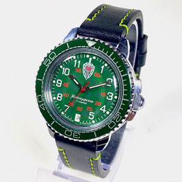 """Russian hand-winding watch KOMANDIRSKIE """"BORDER TROOPS"""" with green bezel and NATO strap by VOSTOK, polished, ø40mm"""