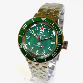 """Russian automatic watch VOSTOK Komandirskie PARACHUTE"""" with glass bottom by VOSTOK, 200m water proof, stainless steel, polished, ø40mm"""