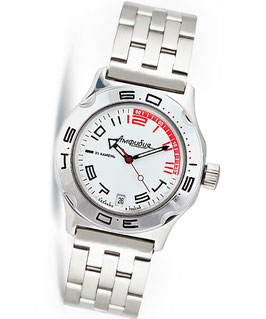 "Russian automatic watch ""AMPHIBIA K-10"" by VOSTOK, 200m water proof, stainless steel, polished, ø42mm"