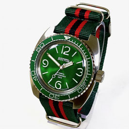 """Russian automatic watch """"AMPHIBIA"""" with sandwich dial with SuperLumiNova, green bezel, glass case back and NATO strap by VOSTOK, 200m water proof, stainless steel, brushed, ø42mm"""