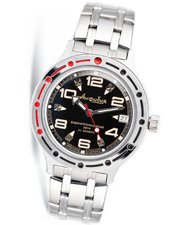 "VOSTOK ""AMPHIBIA"" K-42 automatic diver watch ""Black BL White"" by VOSTOK, 200m water proof, stainless steel, polished, ø40mm"