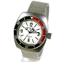 """AMPHIBIA SCUBA DUDE"" automatic watch with SuperLumiNova luminous dial hands, Scuba Dude case back and Milanaise bracelet by VOSTOK-Watches24, stainless steel, brushed, ø41,5mm"