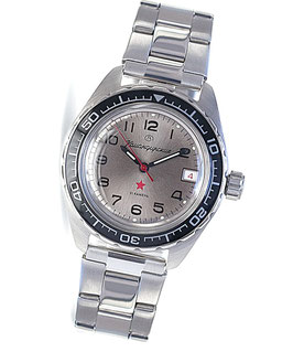"Automatik watch ""KOMANDIRSKIE K-02"" by VOSTOK, stainless steel, brushed, ø42mm"