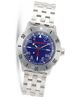 """Russian 24hr automatic watch VOSTOK """"KOMANDIRSKIE"""" by VOSTOK, stainless steel, brushed, ø42mm"""