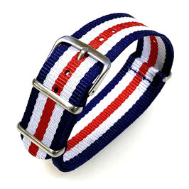 22mm NATO strap for VOSTOK watches, blue white red, NATO09-22mm