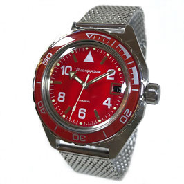 Russian automatic pilots watch VOSTOK KOMANDIRSKIE K-65 with glass case back and milanaise bracelet by VOSTOK, stainless steel, brushed, ø42mm