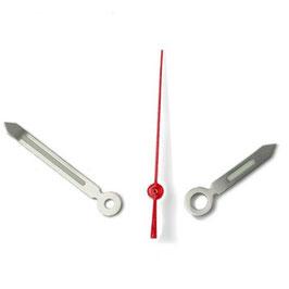 Zeiger für VOSTOK KOMANDIRSKIE und AMPHIBIA Uhren mit einem 24-er Werk, vernickelt, rote Sekunde, Leuchtmasse SET08