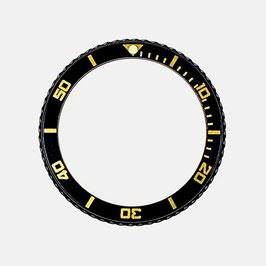 Lünette schwarz PVD beschichtet für VOSTOK AMPHIBIA KOMANDIRSKIE Uhren von VOSTOK, Edelstahl, black Insert mit goldener Beschriftung