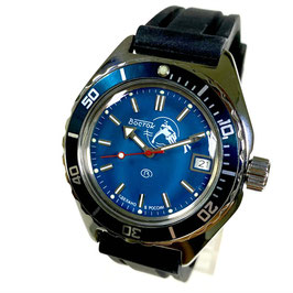 "Automatik diver watch ""SCUBA DUDE"" with sea blue bezel in watch case 670 with SCUBA DUDE-case back and crown with ""B"", polyurethan strap by VOSTOK, stainless steel, polished, ø42mm"