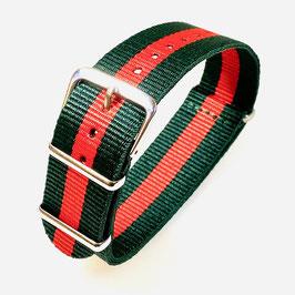 18mm NATO Armband Nylon grün und rot
