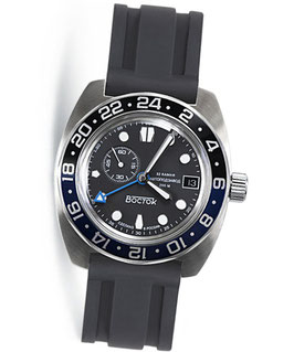 "Russian automatic watch ""AMPHIBIA"" SCUBA DUDE GMT with additional 24hr time and SuperLumiNova by VOSTOK, 200m water proof, stainless steel, brushed, ø42mm"