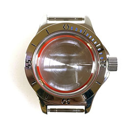 Case 120 for VOSTOK AMPHIBIA watches with bezel (blue minute marks), stainless steel, polished, complete