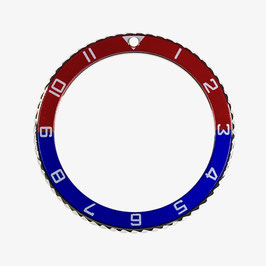 Bezel with hour numbers with blue & red insert for VOSTOK KOMANDIRSKIE and AMPHIBIA watches, stainless steel, polished, ø40.0mm, LÜ-INS-51