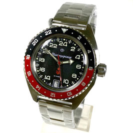 Russian automatic 24hr watch VOSTOK KOMANDIRSKIE K-65 with red/black bezel and glass case back by VOSTOK, stainless steel, brushed, ø42mm