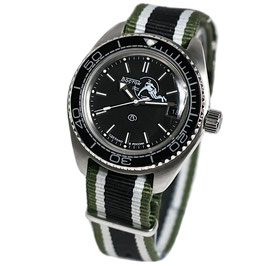 """Automatik watch """"AMPHIBIA SCUBA DUDE"""" with SCUBA DUDE case back and NATO strap by VOSTOK, stainless steel, brushed, ø42mm"""