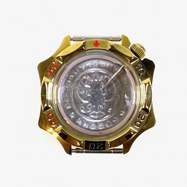 Case 539 for VOSTOK KOMANDIRSKIE hand winding watches, titanium carbonit plated, satined, complete