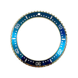 Bezel with sea blue insert with silver lettering for VOSTOK KOMANDIRSKIE watches, stainless steel, ø41.5mm, LÜ-INS-26