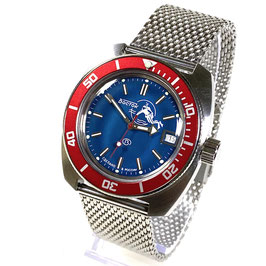 """Russian automatic watch """"AMPHIBIA SCUBA DUDE"""" with sea blue dial, SCUBA DUDE case back and stainless steel mesh bracelet by VOSTOK, 200m water proof, stainless steel, brushed, ø42mm"""