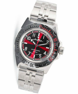 "Russian automatic watch ""AMPHIBIA K-11"" with glass case back by VOSTOK, 200m water proof, stainless steel, polished, ø40mm"