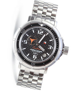 "Automatik wrist watch ""AMFIBIA TURBINA"" by VOSTOK, 200m water proof, stainless steel, carbon dial, ø45mm"