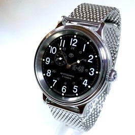 "Automatik watch ""KOMANDIRSKIE RETRO K-43"" with milanaise bracelet by VOSTOK, stainless steel, brushed, black, ø42mm"