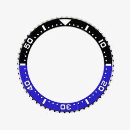 Lünette mit schwarz / blauem Keramik - Insert und Leuchtmasse für VOSTOK AMPHIBIA KOMANDIRSKIE Uhren von VOSTOK, Edelstahl, weiße SuperLumiNova Leuchtmasse, ø40,0mm, LÜ-INS-21