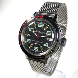 "VOSTOK ""AMPHIBIA"" K-42 automatic diver watch ""Black BL Green"" with mesh-band by VOSTOK, 200m water proof, stainless steel, polished, ø40mm"