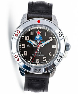 "Russian hand-winding watch KOMANDIRSKIE ""VDV BLACK"" by VOSTOK, polished, ø40mm"