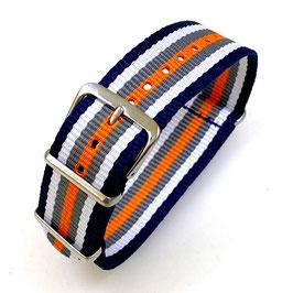 18mm NATO Armband Nylon schwarz-weiß-grau-orange