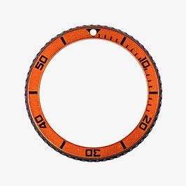 Lünette schwarz PVD beschichtet für VOSTOK AMPHIBIA KOMANDIRSKIE Uhren von VOSTOK, Edelstahl, orange Insert