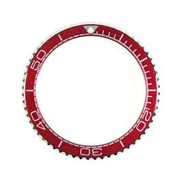 Lünette für VOSTOK AMPHIBIA KOMANDIRSKIE Uhren von VOSTOK, Edelstahl, poliert, rot, LÜ-INS-14