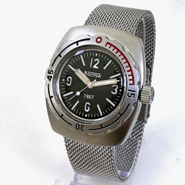 AMPHIBIA 1967 automatic watch by Vostok-Watches24, sandwich dial, paddle hands, AMPHIBIA 1967 case back, 200m water proof, stainless steel, satin, 42x48mm