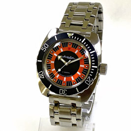 """AMPHIBIA"" automatic watch with glass case back by VOSTOK-Watches24, stainless steel, brushed, ø41,5mm"