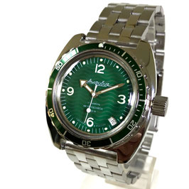Russian automatic diver watch AMPHIBIA with green bezel and glass case back by VOSTOK, 200m water proof, stainless steel, polished, ø41mm